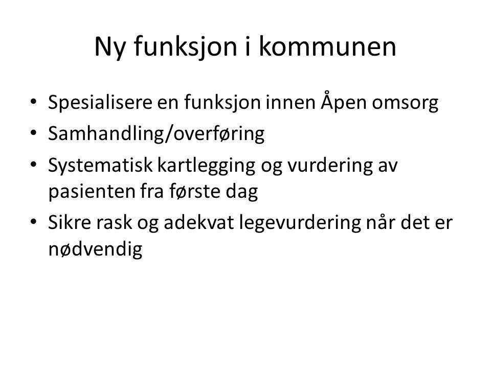 Ny funksjon i kommunen Spesialisere en funksjon innen Åpen omsorg Samhandling/overføring Systematisk kartlegging og vurdering av pasienten fra første