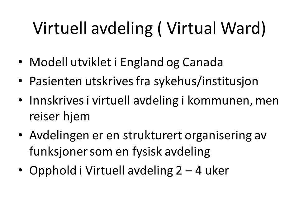 Virtuell avdeling ( Virtual Ward) Modell utviklet i England og Canada Pasienten utskrives fra sykehus/institusjon Innskrives i virtuell avdeling i kom