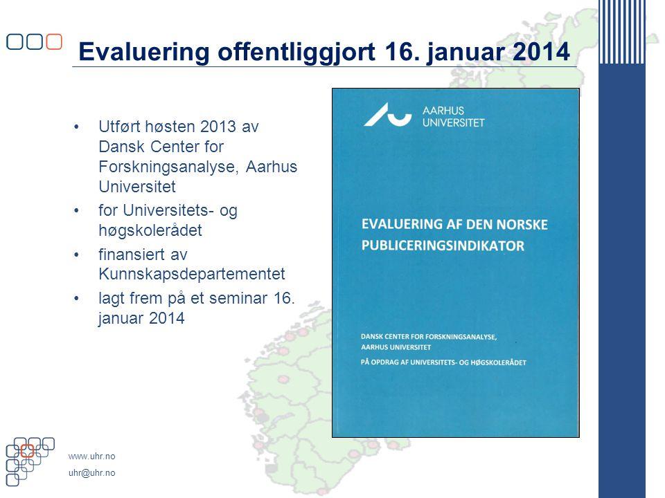 www.uhr.no uhr@uhr.no Informasjon om evalueringen