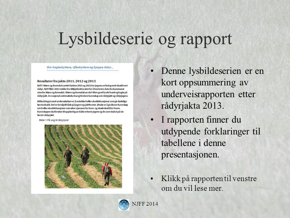 Lysbildeserie og rapport Denne lysbildeserien er en kort oppsummering av underveisrapporten etter rådyrjakta 2013.