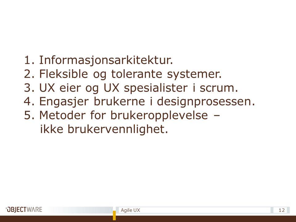 12Agile UX 1. Informasjonsarkitektur. 2. Fleksible og tolerante systemer.