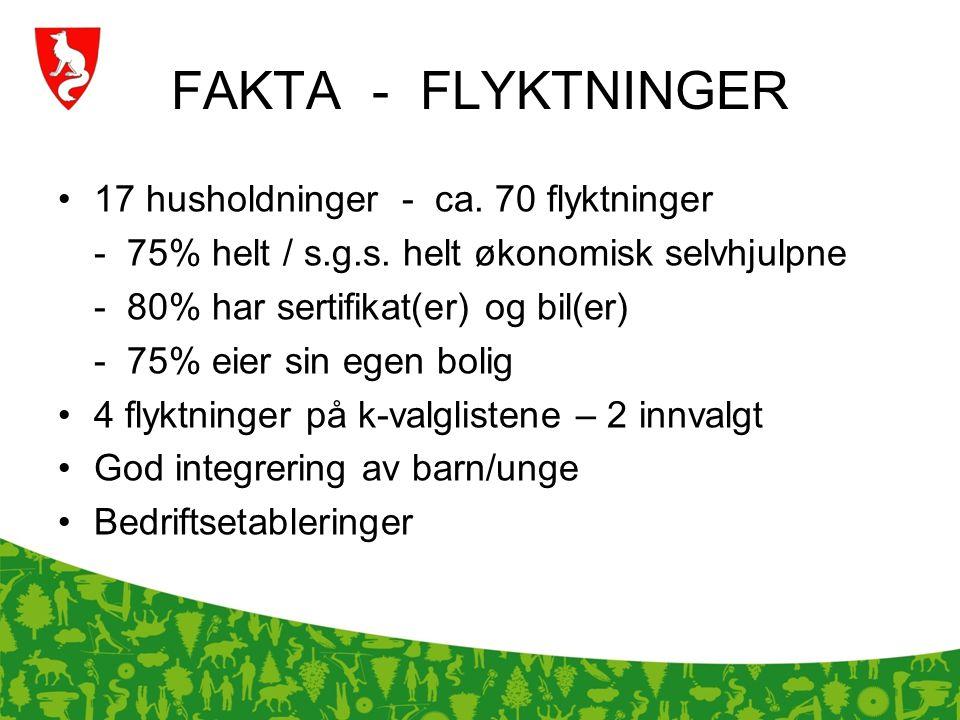 FAKTA - FLYKTNINGER 17 husholdninger - ca. 70 flyktninger - 75% helt / s.g.s. helt økonomisk selvhjulpne - 80% har sertifikat(er) og bil(er) - 75% eie