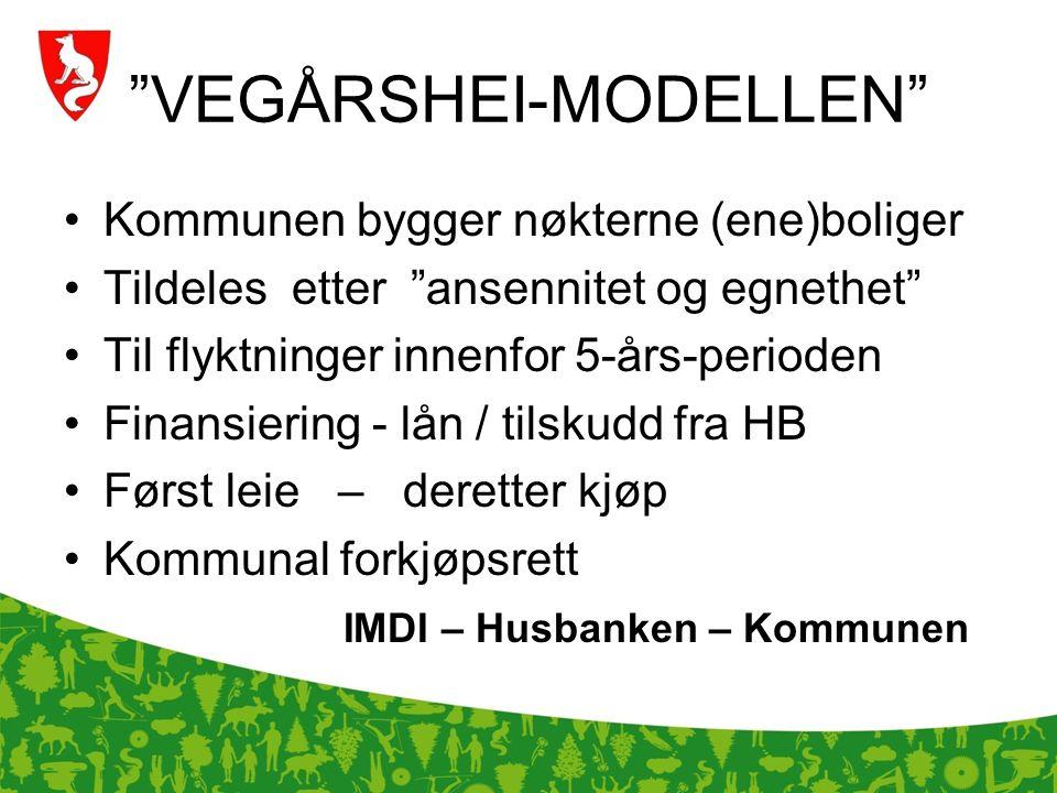 """""""VEGÅRSHEI-MODELLEN"""" Kommunen bygger nøkterne (ene)boliger Tildeles etter """"ansennitet og egnethet"""" Til flyktninger innenfor 5-års-perioden Finansierin"""