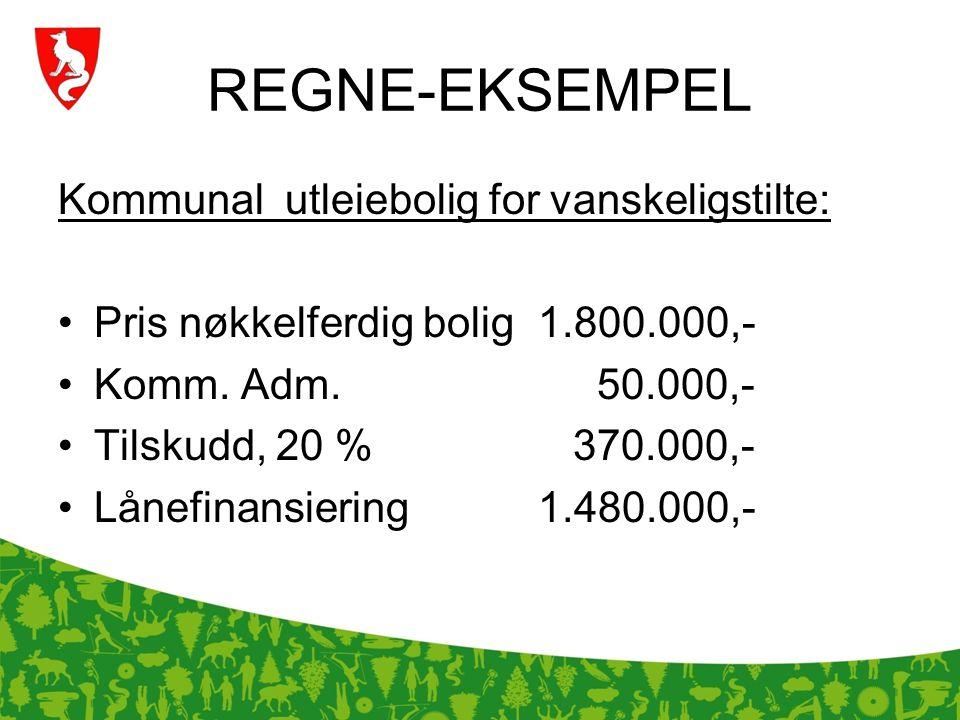 REGNE-EKSEMPEL Kommunal utleiebolig for vanskeligstilte: Pris nøkkelferdig bolig1.800.000,- Komm. Adm. 50.000,- Tilskudd, 20 % 370.000,- Lånefinansier