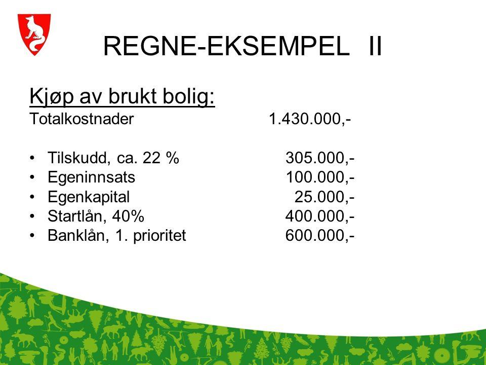 REGNE-EKSEMPEL II Kjøp av brukt bolig: Totalkostnader 1.430.000,- Tilskudd, ca. 22 % 305.000,- Egeninnsats 100.000,- Egenkapital 25.000,- Startlån, 40