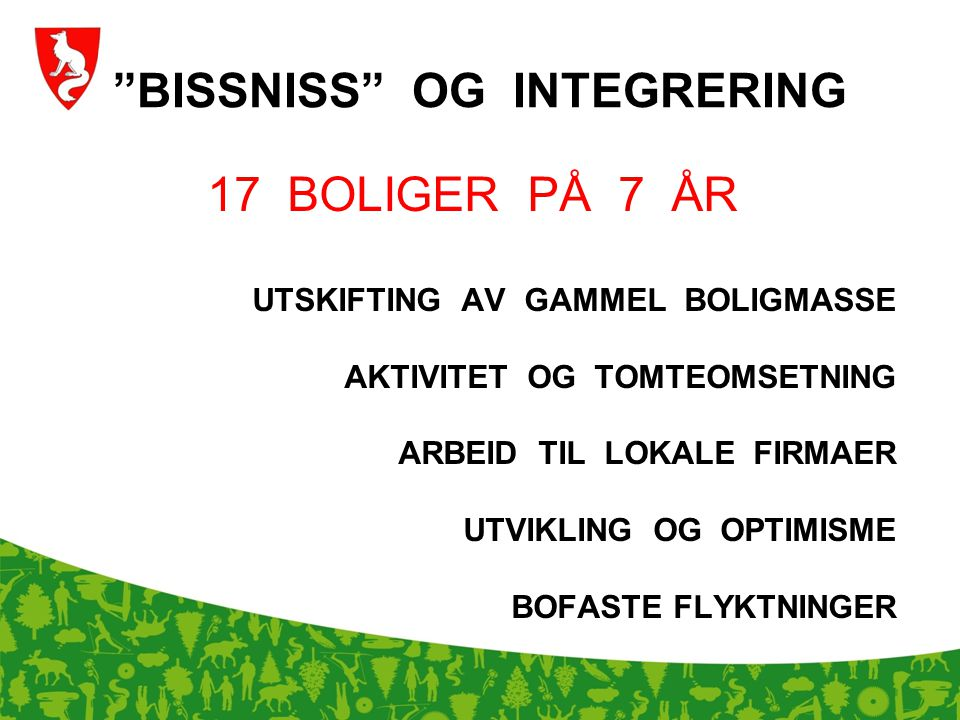 """""""BISSNISS"""" OG INTEGRERING 17 BOLIGER PÅ 7 ÅR UTSKIFTING AV GAMMEL BOLIGMASSE AKTIVITET OG TOMTEOMSETNING ARBEID TIL LOKALE FIRMAER UTVIKLING OG OPTIMI"""