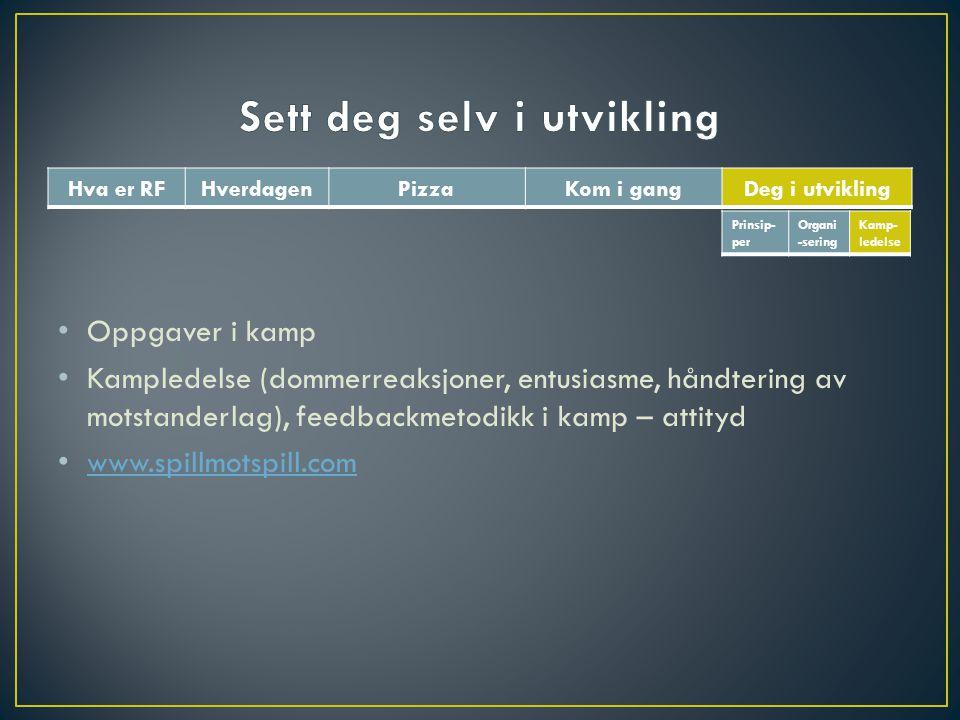 Oppgaver i kamp Kampledelse (dommerreaksjoner, entusiasme, håndtering av motstanderlag), feedbackmetodikk i kamp – attityd www.spillmotspill.com Prins
