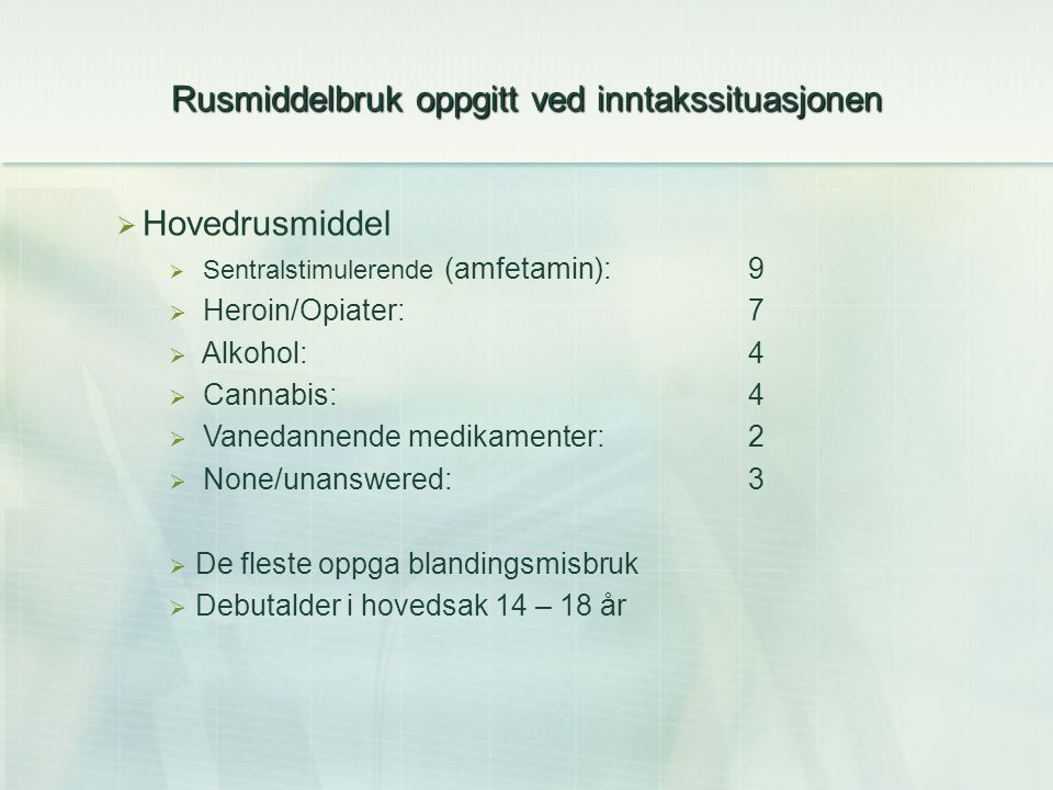 Rusmiddelbruk oppgitt ved inntakssituasjonen  Hovedrusmiddel  Sentralstimulerende (amfetamin):9  Heroin/Opiater:7  Alkohol:4  Cannabis:4  Vanedannende medikamenter:2  None/unanswered: 3  De fleste oppga blandingsmisbruk  Debutalder i hovedsak 14 – 18 år