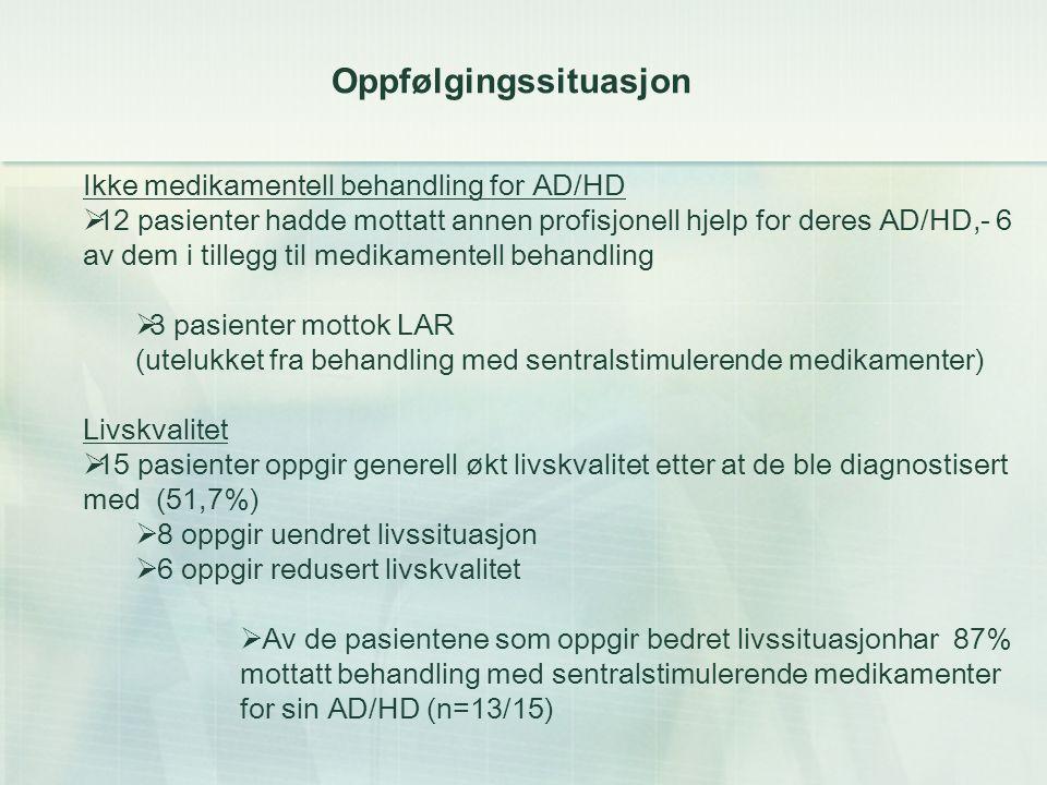 Oppfølgingssituasjon Ikke medikamentell behandling for AD/HD  12 pasienter hadde mottatt annen profisjonell hjelp for deres AD/HD,- 6 av dem i tillegg til medikamentell behandling  3 pasienter mottok LAR (utelukket fra behandling med sentralstimulerende medikamenter) Livskvalitet  15 pasienter oppgir generell økt livskvalitet etter at de ble diagnostisert med (51,7%)  8 oppgir uendret livssituasjon  6 oppgir redusert livskvalitet  Av de pasientene som oppgir bedret livssituasjonhar 87% mottatt behandling med sentralstimulerende medikamenter for sin AD/HD (n=13/15)