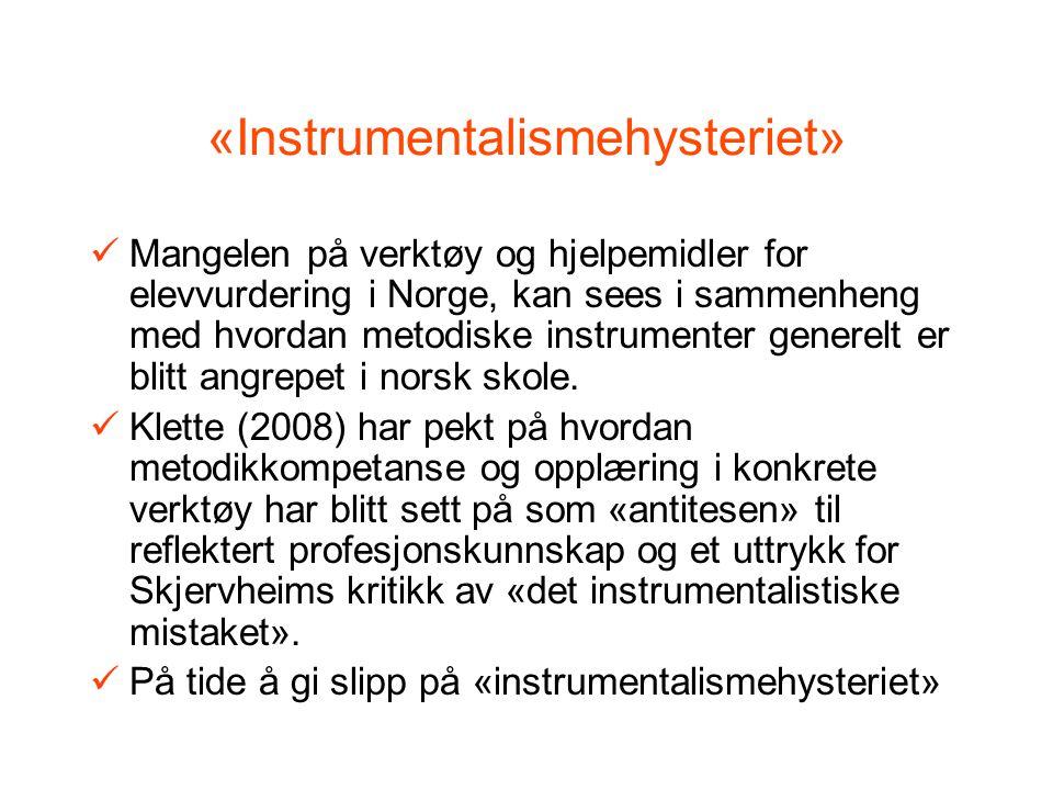 «Instrumentalismehysteriet» Mangelen på verktøy og hjelpemidler for elevvurdering i Norge, kan sees i sammenheng med hvordan metodiske instrumenter generelt er blitt angrepet i norsk skole.