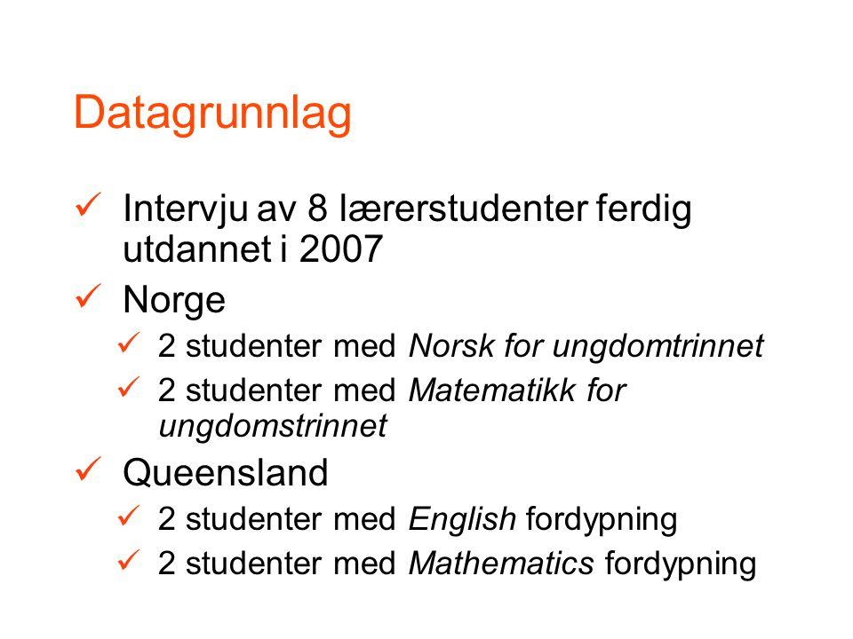 Norge Norsk, Matematikk og KRL obligatorisk første to år Fordypning i 2 til 4 fag to siste år Undervisningskompetanse i 3-7 fag