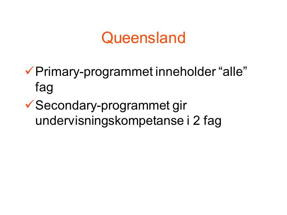 Queensland Primary-programmet inneholder alle fag Secondary-programmet gir undervisningskompetanse i 2 fag