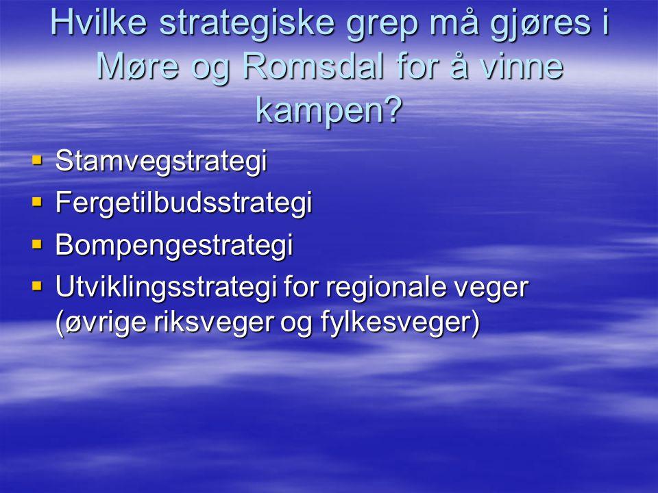 Hvilke strategiske grep må gjøres i Møre og Romsdal for å vinne kampen?  Stamvegstrategi  Fergetilbudsstrategi  Bompengestrategi  Utviklingsstrate