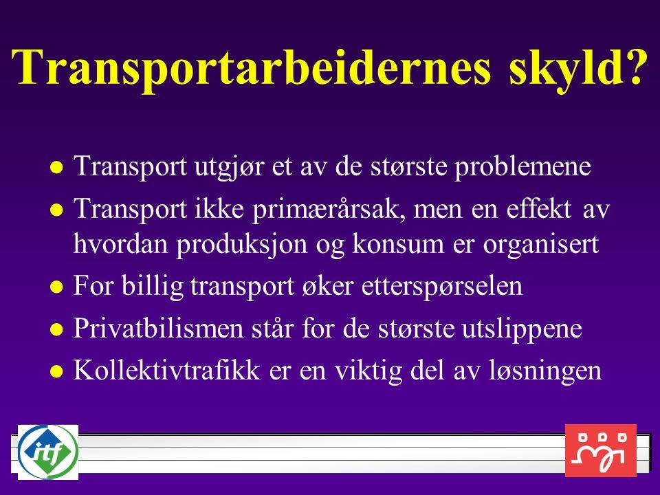 Transportarbeidernes skyld? Transport utgjør et av de største problemene Transport ikke primærårsak, men en effekt av hvordan produksjon og konsum er
