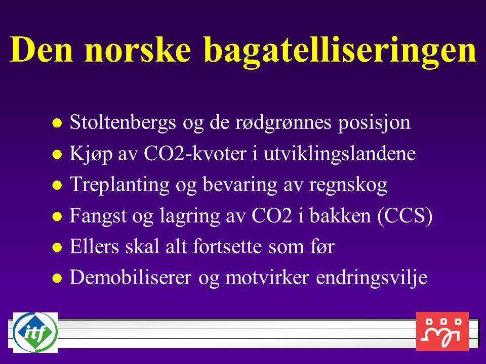 Den norske bagatelliseringen Stoltenbergs og de rødgrønnes posisjon Kjøp av CO2-kvoter i utviklingslandene Treplanting og bevaring av regnskog Fangst og lagring av CO2 i bakken (CCS) Ellers skal alt fortsette som før Demobiliserer og motvirker endringsvilje
