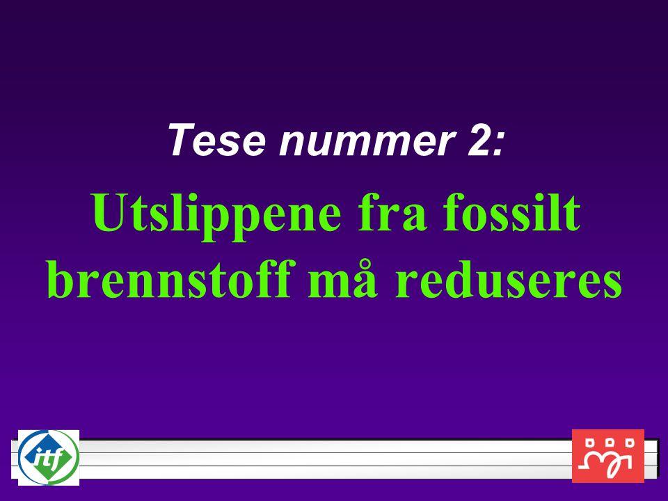 Tese nummer 2: Utslippene fra fossilt brennstoff må reduseres