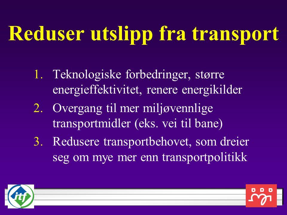 Reduser utslipp fra transport 1.Teknologiske forbedringer, større energieffektivitet, renere energikilder 2.Overgang til mer miljøvennlige transportmidler (eks.