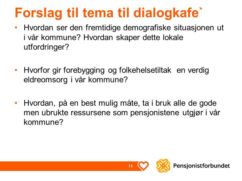 Forslag til tema til dialogkafe` Hvordan ser den fremtidige demografiske situasjonen ut i vår kommune? Hvordan skaper dette lokale utfordringer? Hvorf