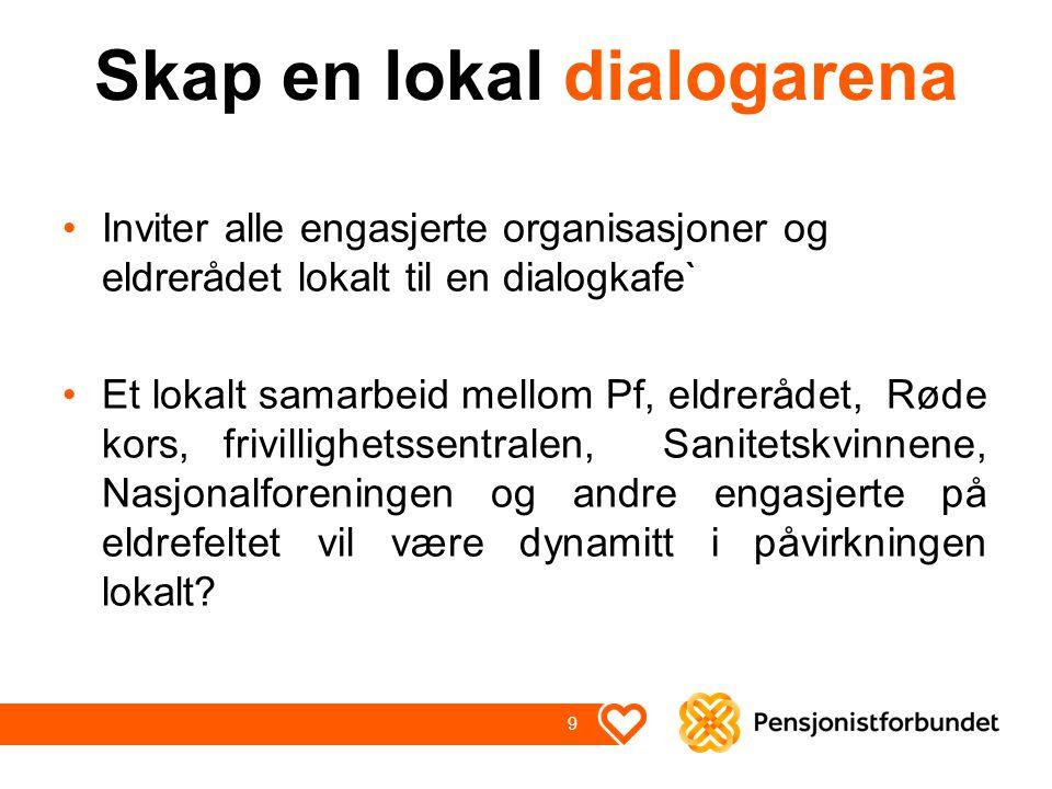 Skap en lokal dialogarena Inviter alle engasjerte organisasjoner og eldrerådet lokalt til en dialogkafe` Et lokalt samarbeid mellom Pf, eldrerådet, Rø