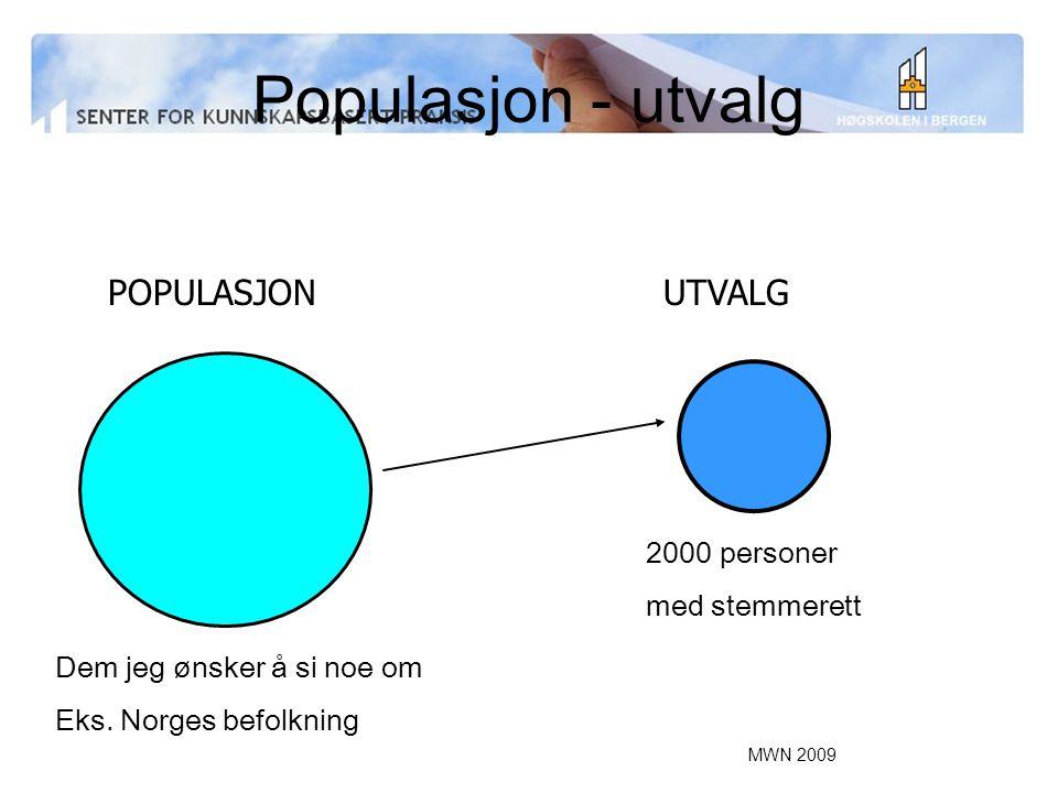 MWN 2009 Populasjon - utvalg 2000 personer med stemmerett UTVALGPOPULASJON Dem jeg ønsker å si noe om Eks. Norges befolkning