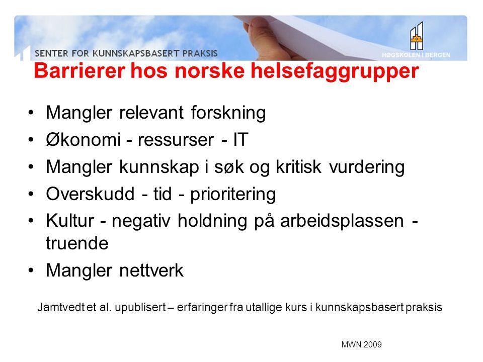 MWN 2009 Barrierer hos norske helsefaggrupper Mangler relevant forskning Økonomi - ressurser - IT Mangler kunnskap i søk og kritisk vurdering Overskud