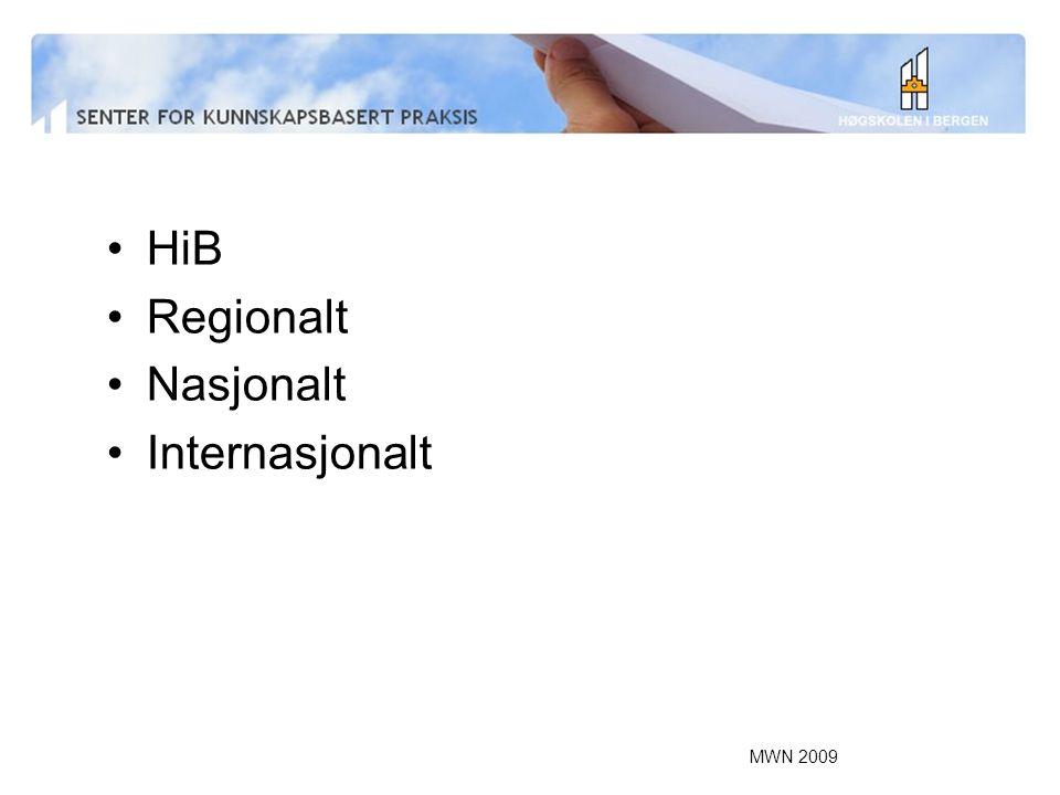 MWN 2009 HiB Regionalt Nasjonalt Internasjonalt