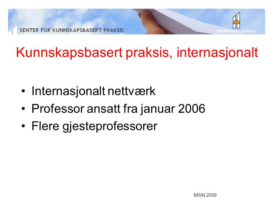 MWN 2009 Kunnskapsbasert praksis, internasjonalt Internasjonalt nettværk Professor ansatt fra januar 2006 Flere gjesteprofessorer