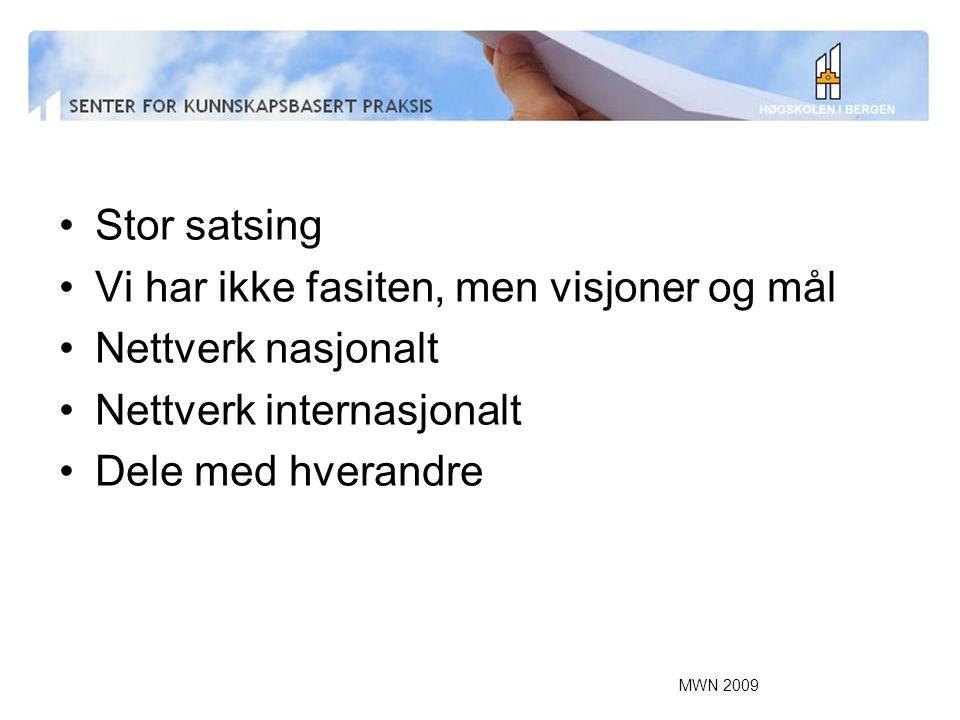 MWN 2009 Stor satsing Vi har ikke fasiten, men visjoner og mål Nettverk nasjonalt Nettverk internasjonalt Dele med hverandre