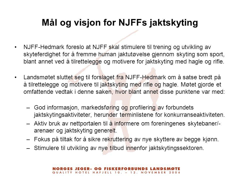 Mål og visjon for NJFFs jaktskyting NJFF-Hedmark foreslo at NJFF skal stimulere til trening og utvikling av skyteferdighet for å fremme human jaktutøv