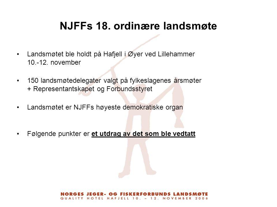 NJFFs 18. ordinære landsmøte Landsmøtet ble holdt på Hafjell i Øyer ved Lillehammer 10.-12. november 150 landsmøtedelegater valgt på fylkeslagenes års