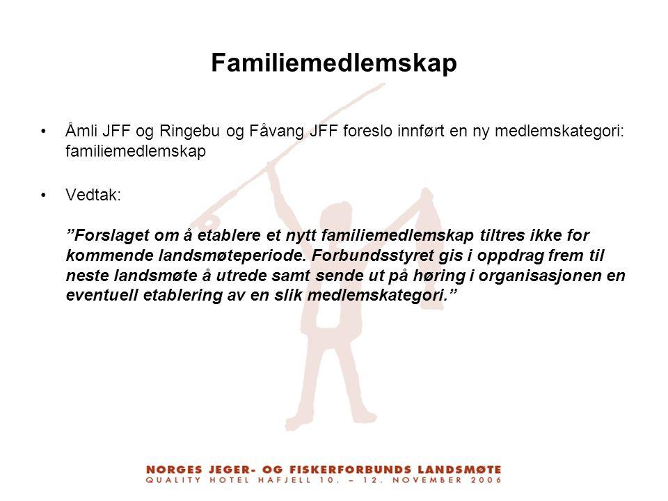 """Familiemedlemskap Åmli JFF og Ringebu og Fåvang JFF foreslo innført en ny medlemskategori: familiemedlemskap Vedtak: """"Forslaget om å etablere et nytt"""