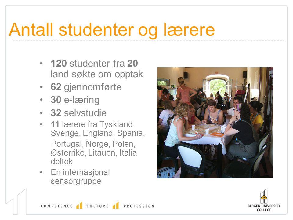 Antall studenter og lærere 120 studenter fra 20 land søkte om opptak 62 gjennomførte 30 e-læring 32 selvstudie 11 lærere fra Tyskland, Sverige, England, Spania, Portugal, Norge, Polen, Østerrike, Litauen, Italia deltok En internasjonal sensorgruppe