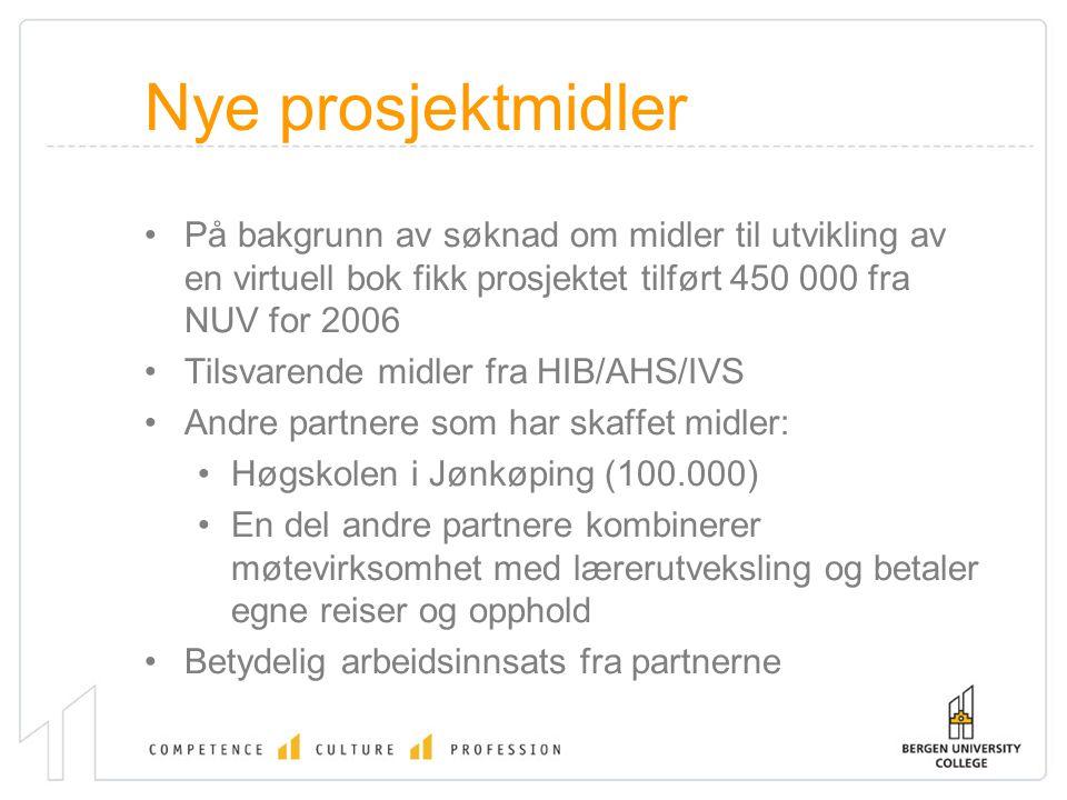 Nye prosjektmidler På bakgrunn av søknad om midler til utvikling av en virtuell bok fikk prosjektet tilført 450 000 fra NUV for 2006 Tilsvarende midler fra HIB/AHS/IVS Andre partnere som har skaffet midler: Høgskolen i Jønkøping (100.000) En del andre partnere kombinerer møtevirksomhet med lærerutveksling og betaler egne reiser og opphold Betydelig arbeidsinnsats fra partnerne