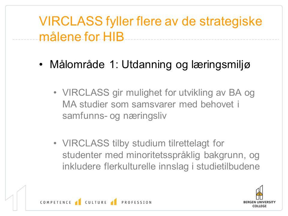 VIRCLASS fyller flere av de strategiske målene for HIB Målområde 1: Utdanning og læringsmiljø VIRCLASS gir mulighet for utvikling av BA og MA studier
