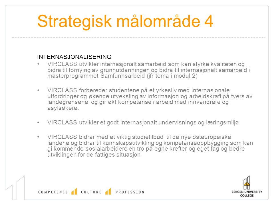 Strategisk målområde 4 INTERNASJONALISERING VIRCLASS utvikler internasjonalt samarbeid som kan styrke kvaliteten og bidra til fornying av grunnutdanni