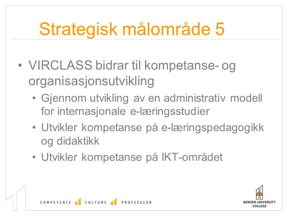 Strategisk målområde 5 VIRCLASS bidrar til kompetanse- og organisasjonsutvikling Gjennom utvikling av en administrativ modell for internasjonale e-læringsstudier Utvikler kompetanse på e-læringspedagogikk og didaktikk Utvikler kompetanse på IKT-området