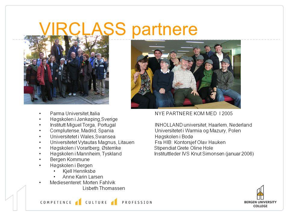 VIRCLASS partnere Parma Universitet,ItaliaNYE PARTNERE KOM MED I 2005 Høgskolen i Jønkøping,Sverige Institutt Miguel Torga, PortugalINHOLLAND universi