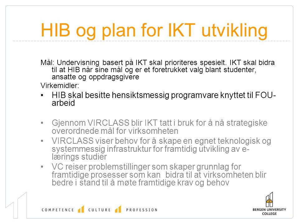 HIB og plan for IKT utvikling Mål: Undervisning basert på IKT skal prioriteres spesielt. IKT skal bidra til at HIB når sine mål og er et foretrukket v