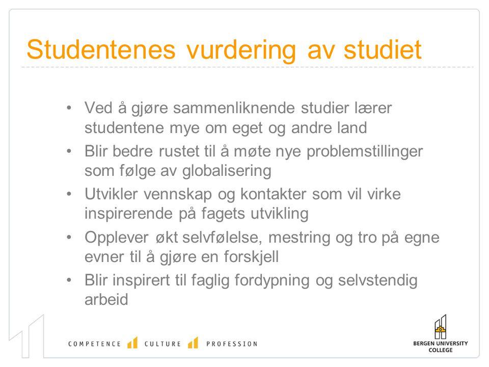Studentenes vurdering av studiet Ved å gjøre sammenliknende studier lærer studentene mye om eget og andre land Blir bedre rustet til å møte nye proble