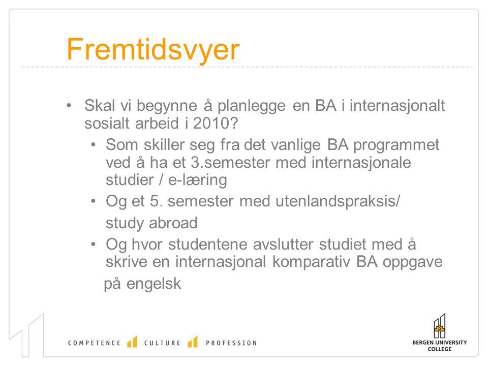 Fremtidsvyer Skal vi begynne å planlegge en BA i internasjonalt sosialt arbeid i 2010? Som skiller seg fra det vanlige BA programmet ved å ha et 3.sem