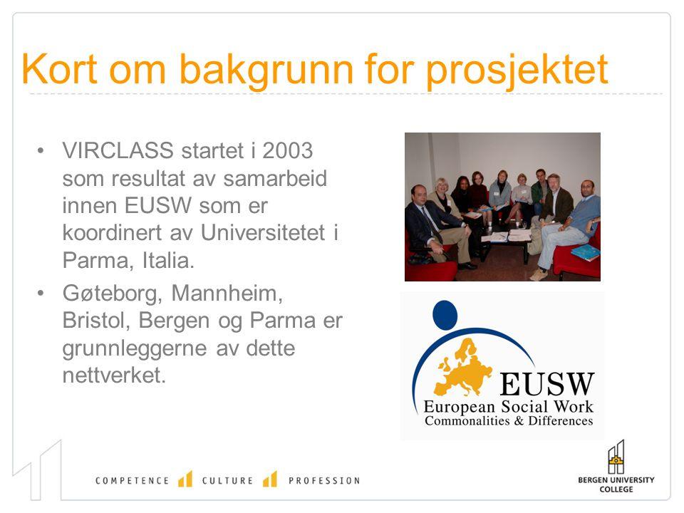Kort om bakgrunn for prosjektet VIRCLASS startet i 2003 som resultat av samarbeid innen EUSW som er koordinert av Universitetet i Parma, Italia. Gøteb