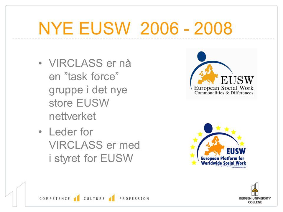 """NYE EUSW 2006 - 2008 VIRCLASS er nå en """"task force"""" gruppe i det nye store EUSW nettverket Leder for VIRCLASS er med i styret for EUSW"""