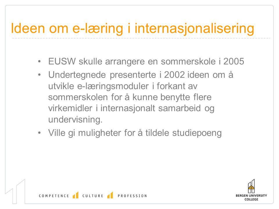 Ideen om e-læring i internasjonalisering EUSW skulle arrangere en sommerskole i 2005 Undertegnede presenterte i 2002 ideen om å utvikle e-læringsmoduler i forkant av sommerskolen for å kunne benytte flere virkemidler i internasjonalt samarbeid og undervisning.