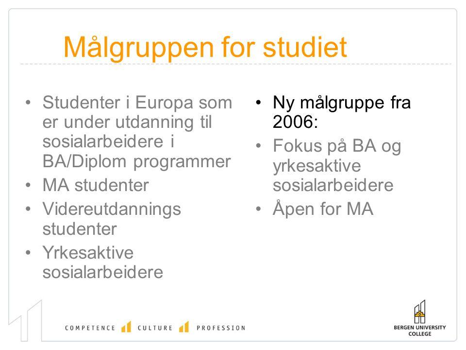 Målgruppen for studiet Studenter i Europa som er under utdanning til sosialarbeidere i BA/Diplom programmer MA studenter Videreutdannings studenter Yr