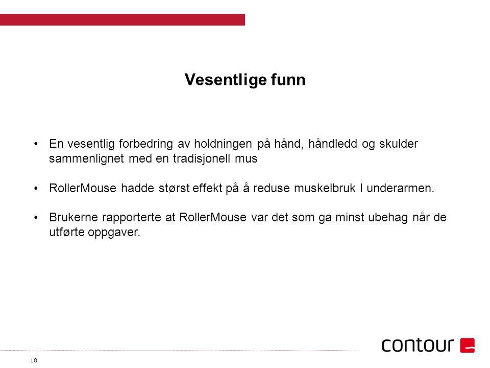 18 Vesentlige funn En vesentlig forbedring av holdningen på hånd, håndledd og skulder sammenlignet med en tradisjonell mus RollerMouse hadde størst effekt på å reduse muskelbruk I underarmen.