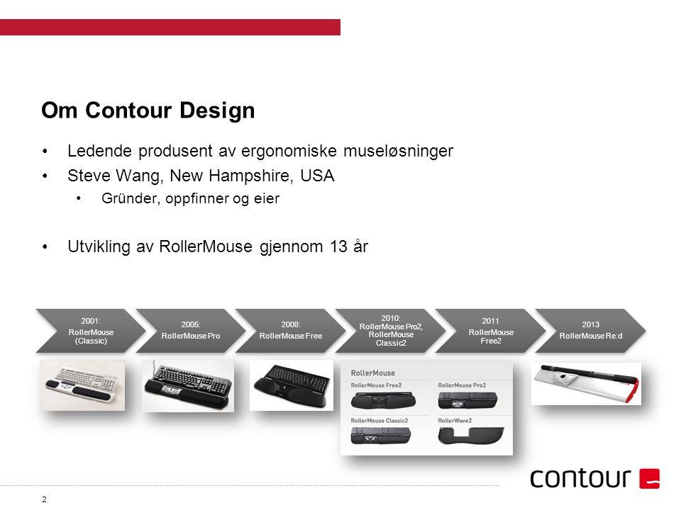 2 Om Contour Design Ledende produsent av ergonomiske museløsninger Steve Wang, New Hampshire, USA Gründer, oppfinner og eier Utvikling av RollerMouse