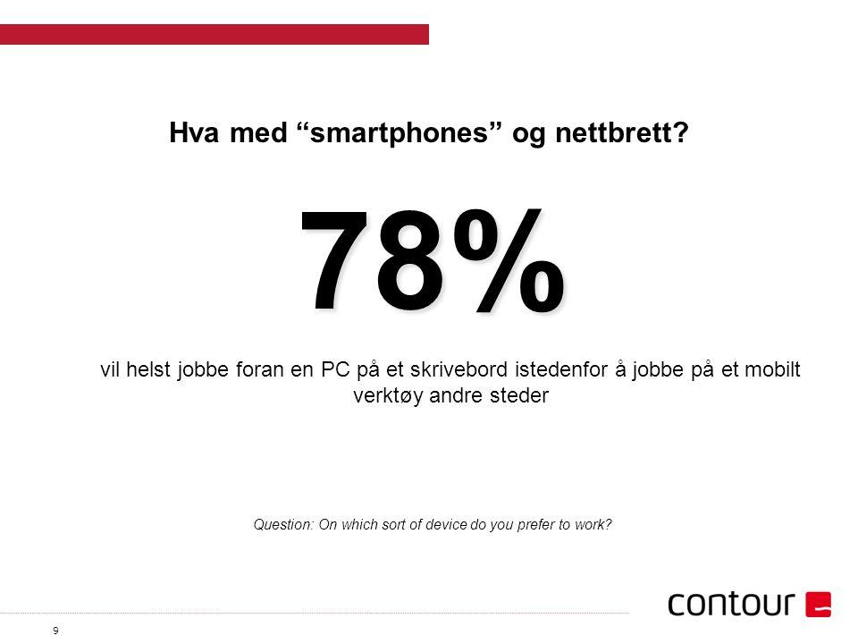 """9 Hva med """"smartphones"""" og nettbrett? vil helst jobbe foran en PC på et skrivebord istedenfor å jobbe på et mobilt verktøy andre steder 78% Question:"""