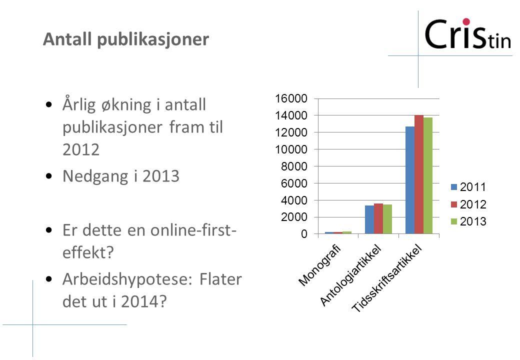 Antall publikasjoner Årlig økning i antall publikasjoner fram til 2012 Nedgang i 2013 Er dette en online-first- effekt? Arbeidshypotese: Flater det ut