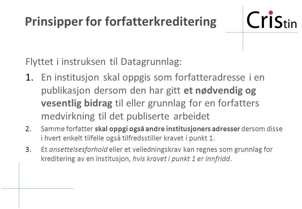 Prinsipper for forfatterkreditering Flyttet i instruksen til Datagrunnlag: 1.En institusjon skal oppgis som forfatteradresse i en publikasjon dersom d