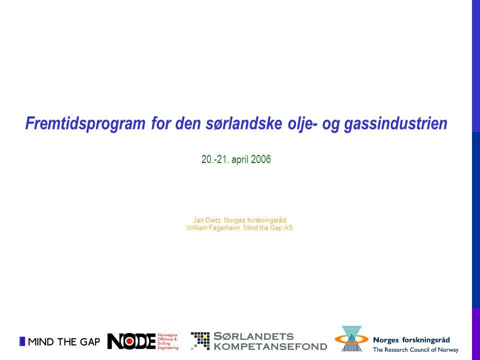 Fremtidsprogram for den sørlandske olje- og gassindustrien 20.-21. april 2006 Jan Dietz, Norges forskningsråd William Fagerheim, Mind the Gap AS
